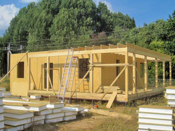 плоская конструкция крыши