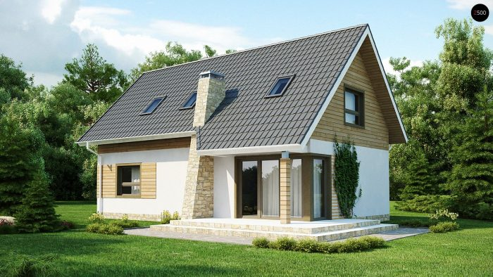 традиционный дом с двускатной мансардой