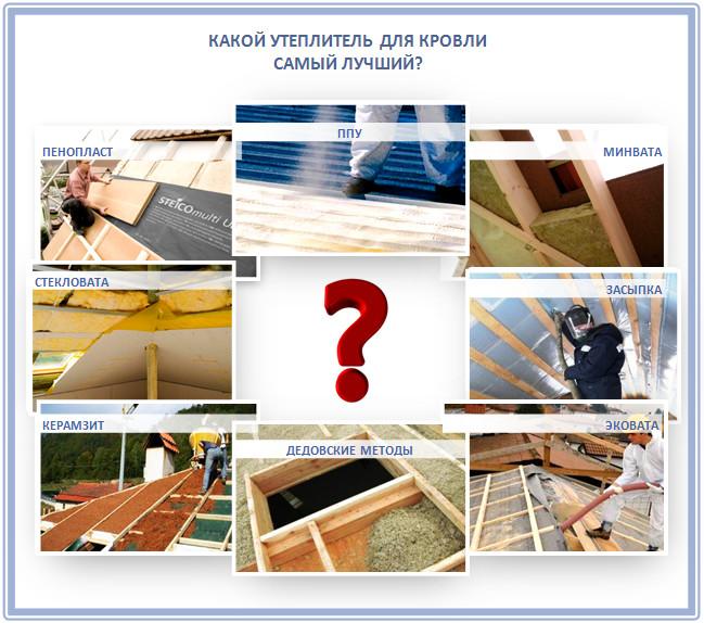основные виды утеплителей для крыши