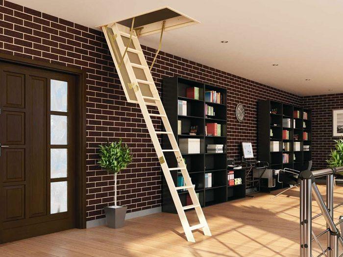 пример складной лестницы на чердак