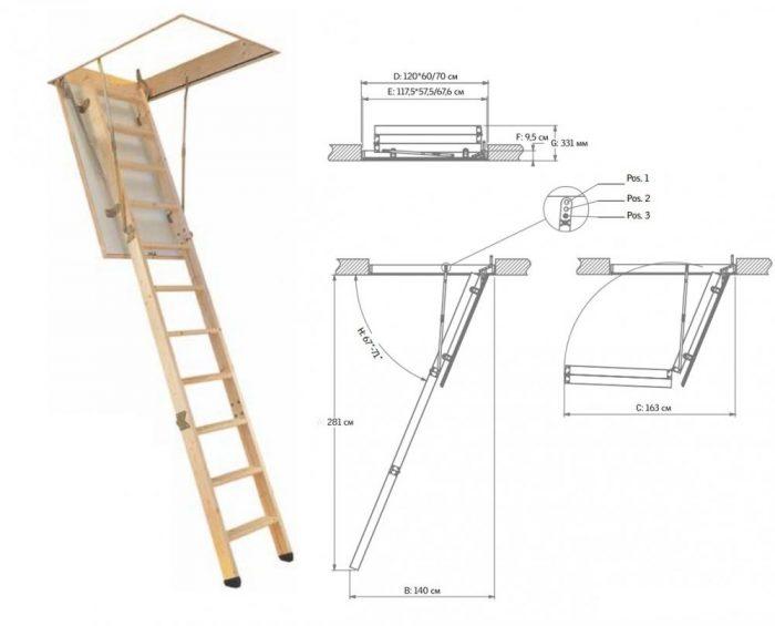 чертеж чердачной лестницы