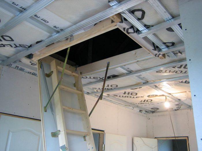 подготовка и установка чердачного люка