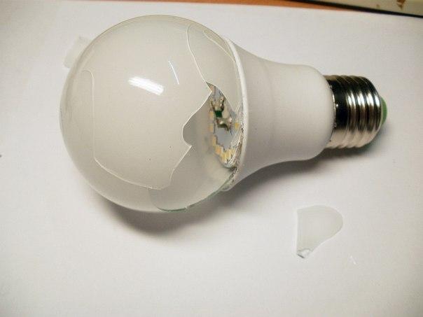 Перегоревшая светодиодная лампочка