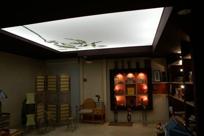 прозрачный натяжной потолок с подсветкой