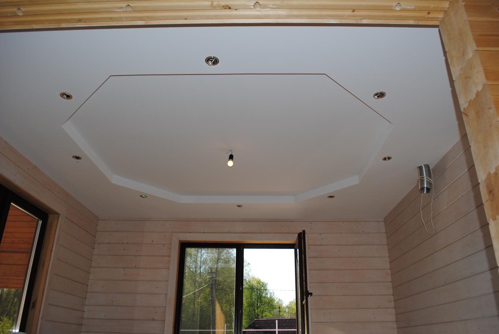 гипсокартон на потолок в деревенском доме фото идеальный вариант для