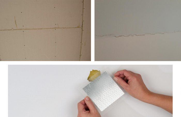 ремонт трещин на потолочной поверхности