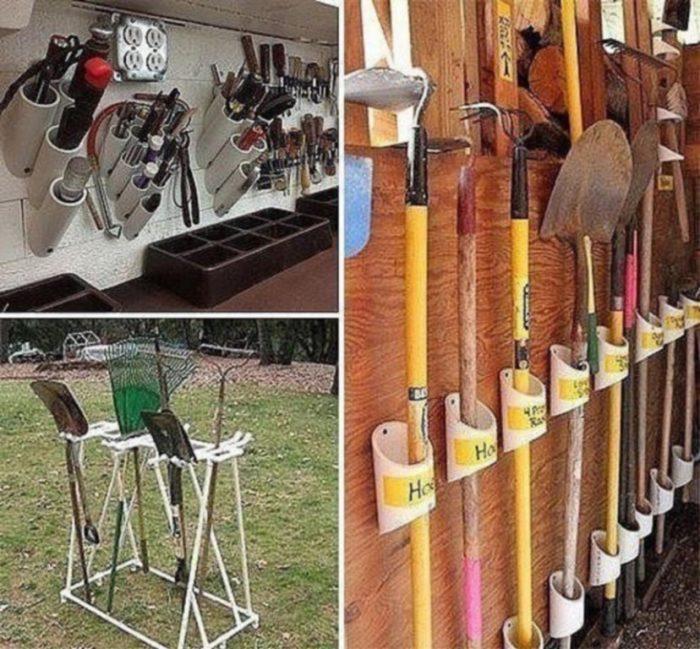 Держатели для садовых инструментов из ПВХ труб