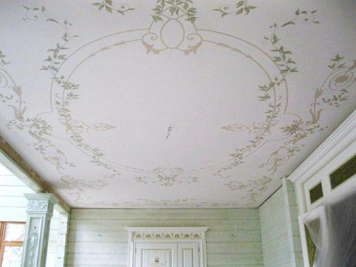альфрейная отделка потолка