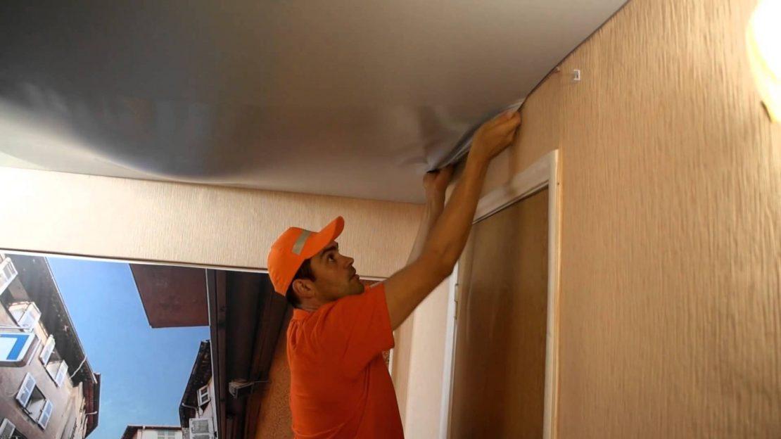 технология ремонта натяжного потолка