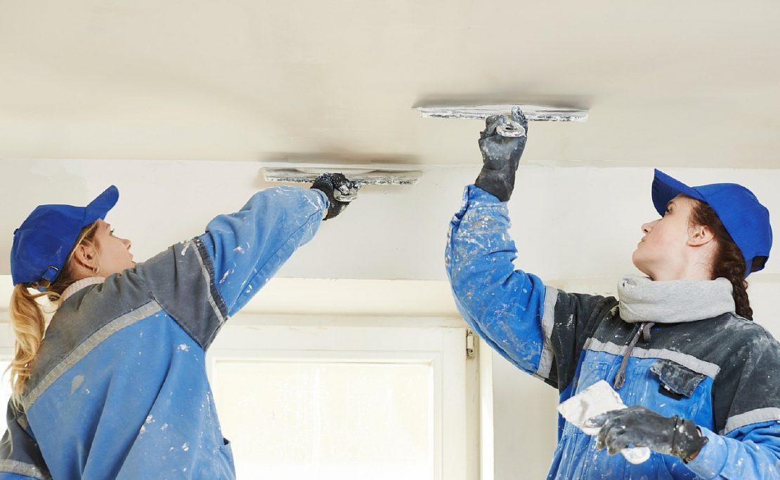 техника шпаклевания бетонного потолка