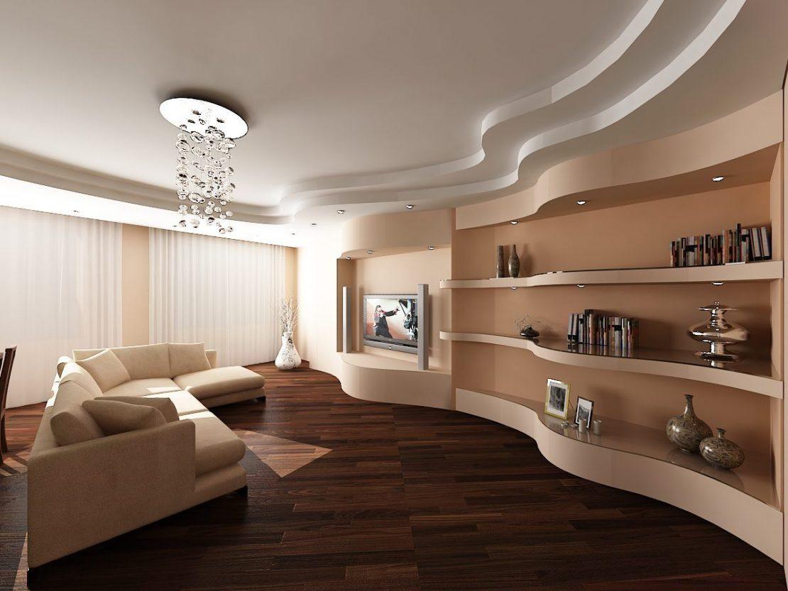 сатиновый потолок в гостинной