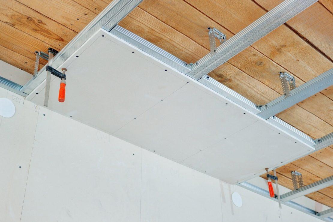 отделка потолка в гараже гипсокартоном