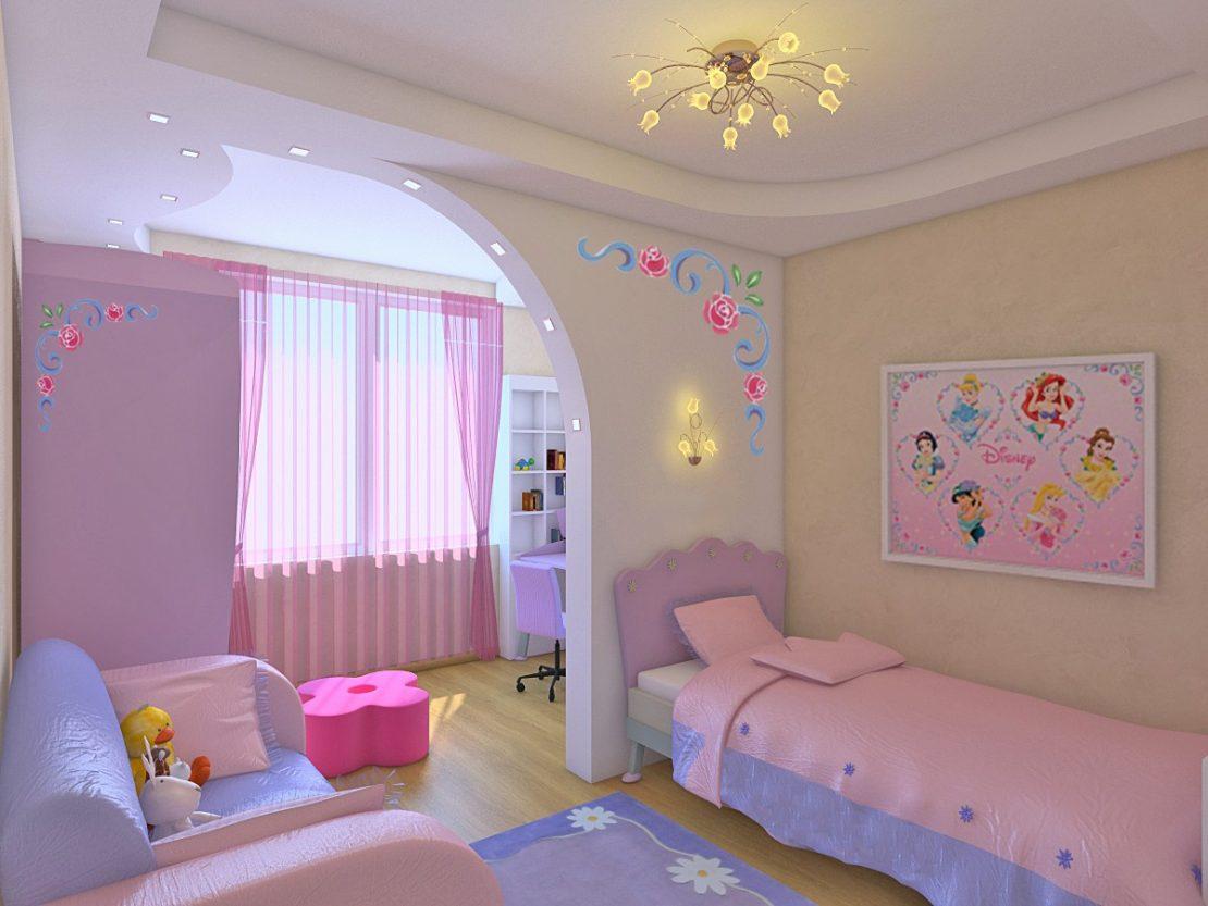 потолок из гипсокартона в детской спальне