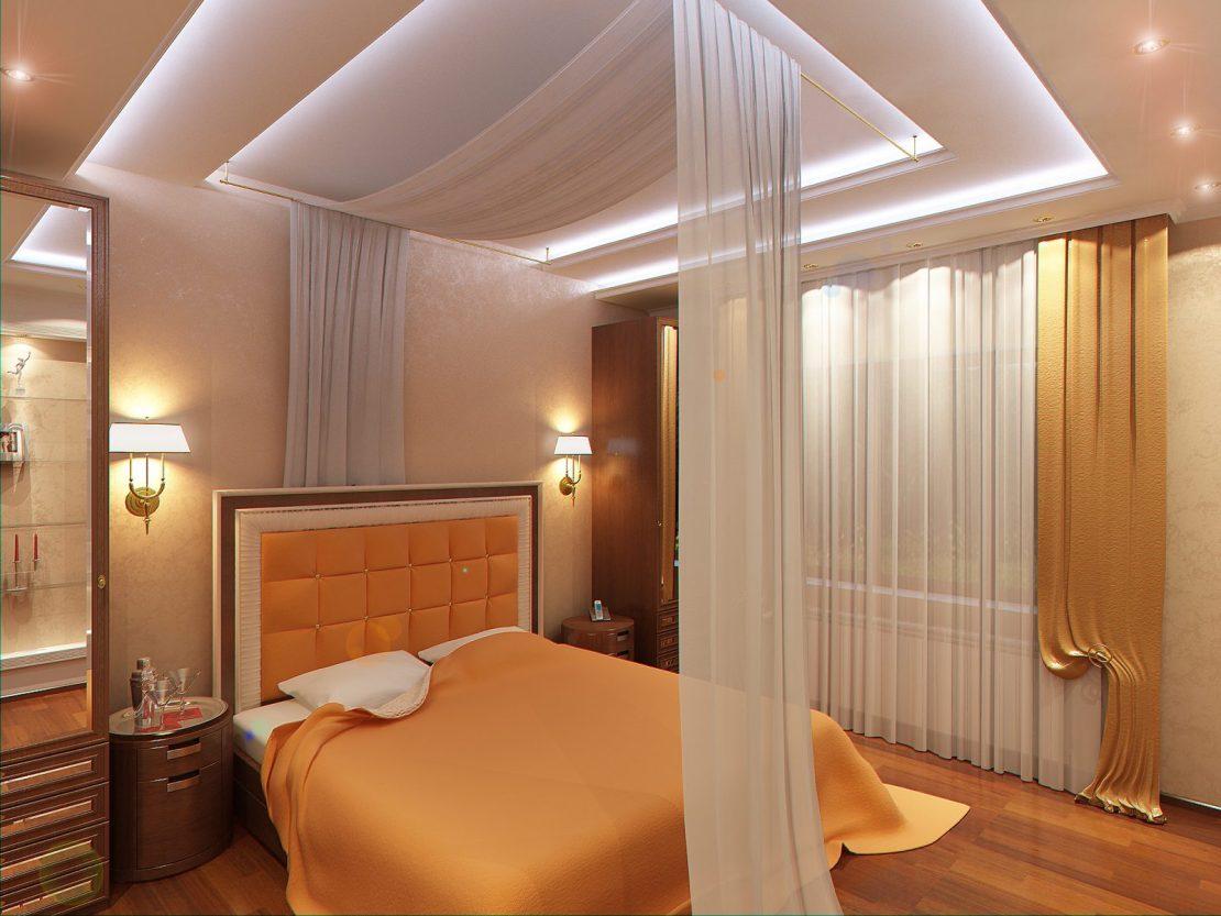 потолки для спальни двухуровневые