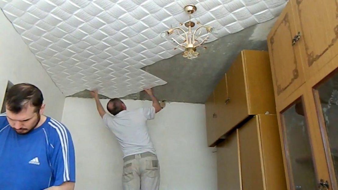 ремонт потолочной плитки из пенопласта