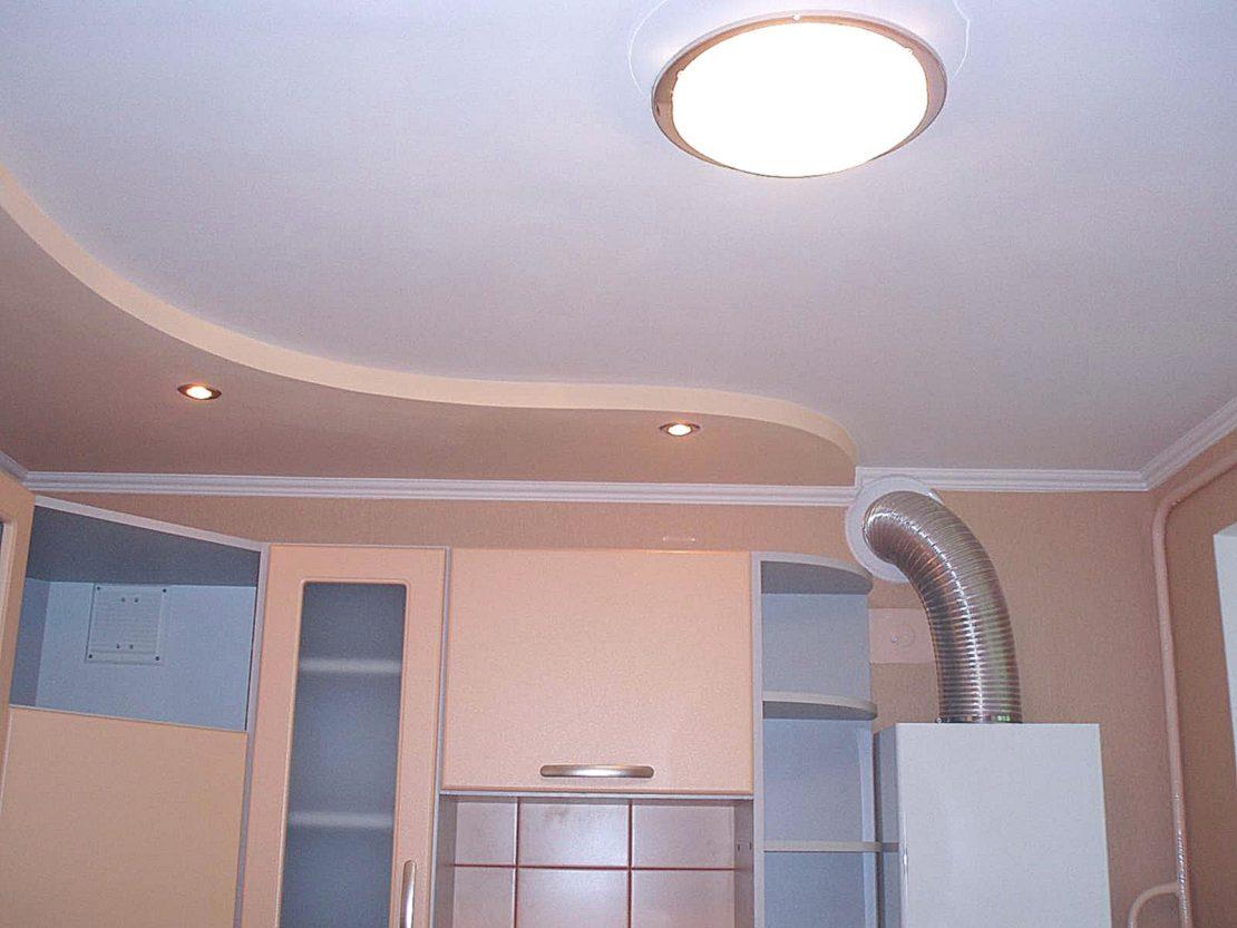 использование гипсокартонных потолков на кухне