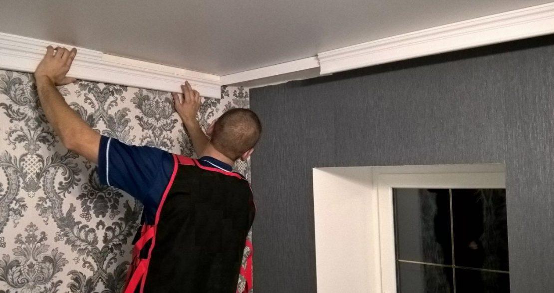 технология монтажа потолочного плинтуса