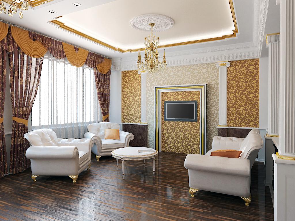 потолки из гипсокартона в классическом интерьере