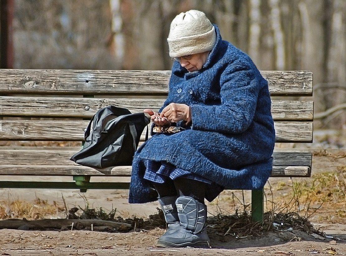 Пенсионерка на скамейке