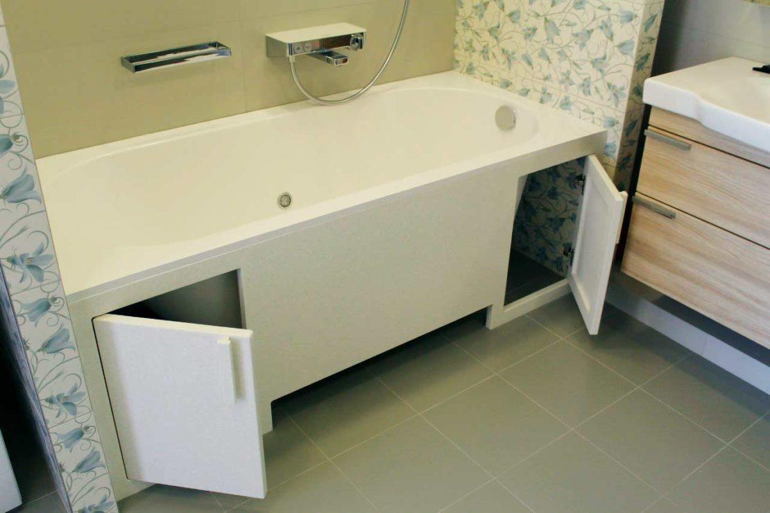Распашной экран под ванной