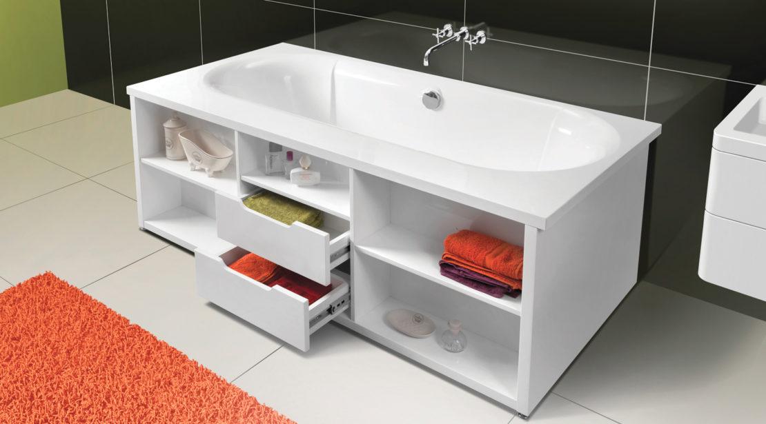 Экран под ванной с ящиками