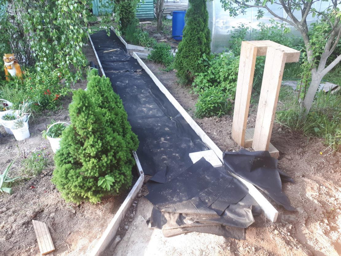 Садовая дорожка из старого рубероида