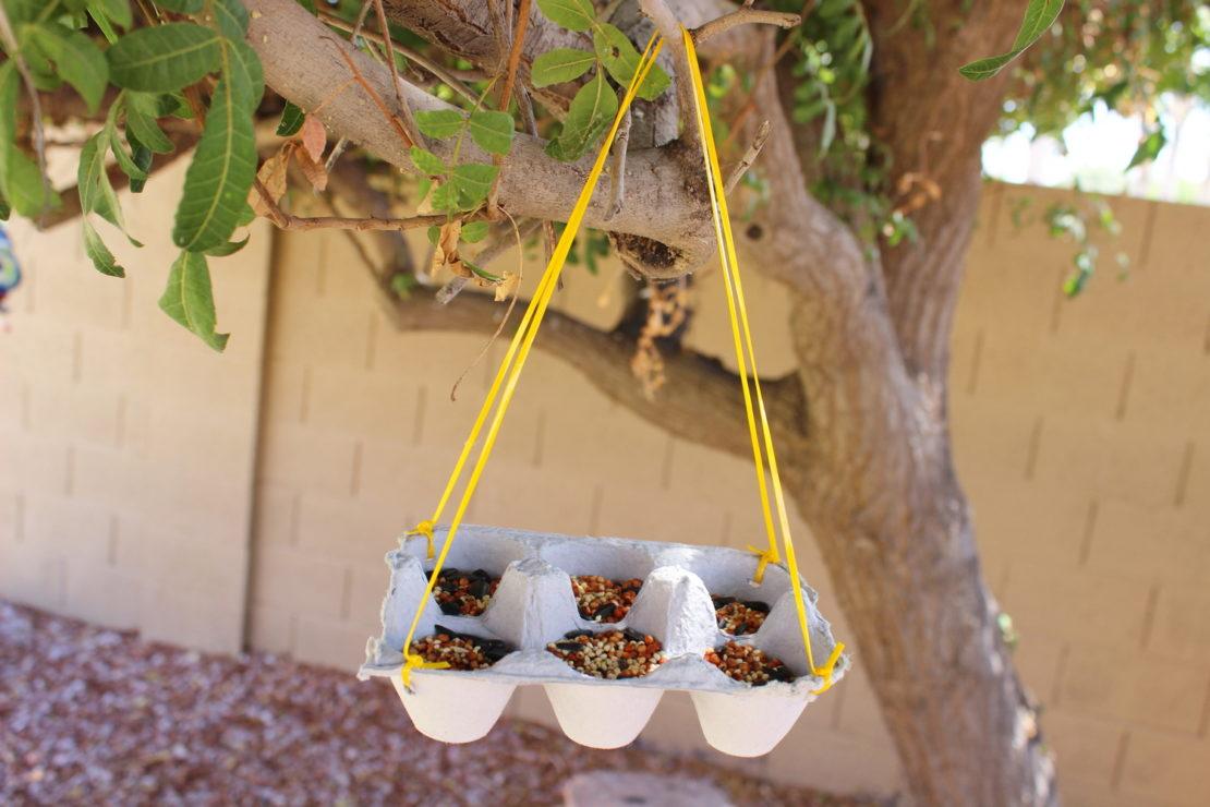 Кормушка для птиц из яичных лотков