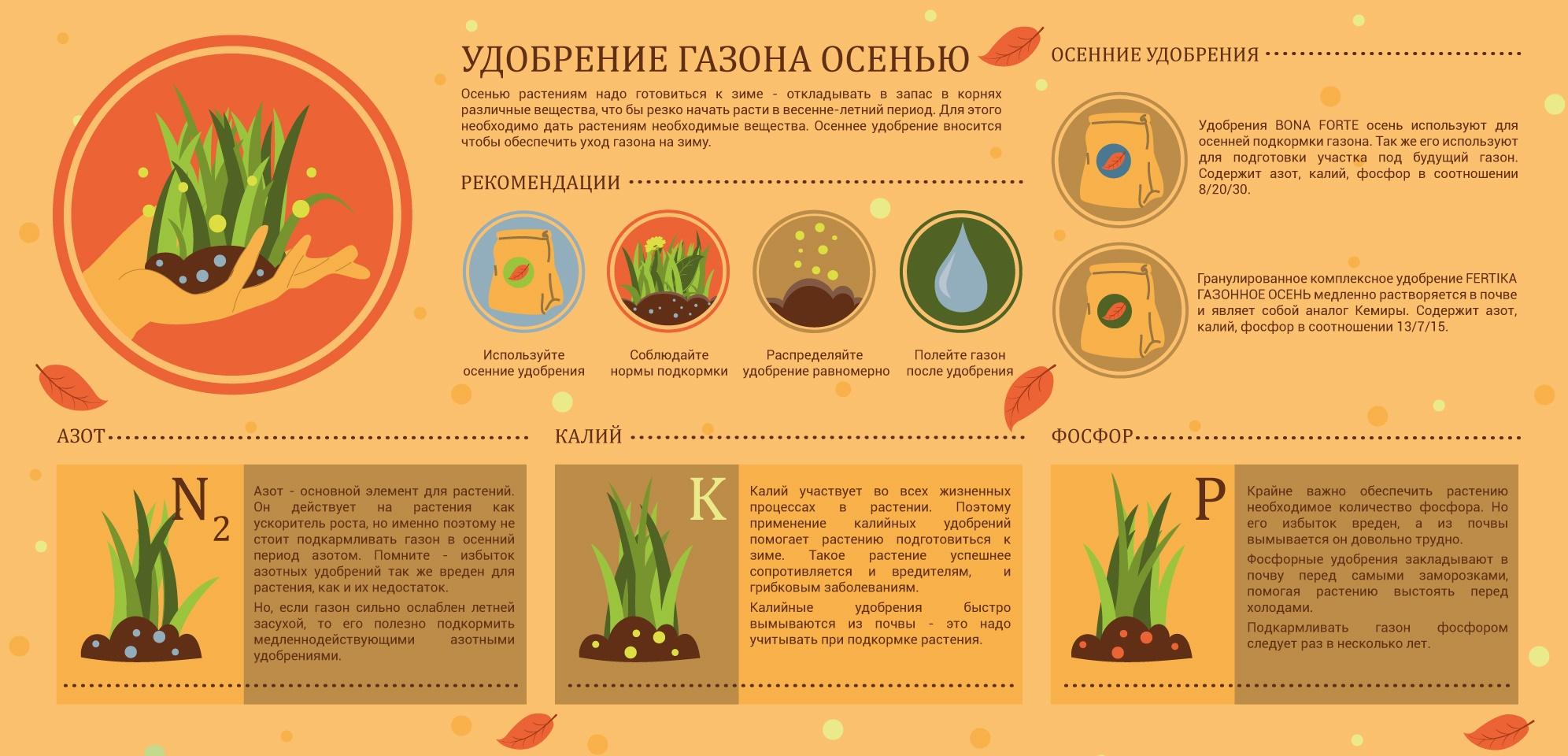 Удобрение газона осенью
