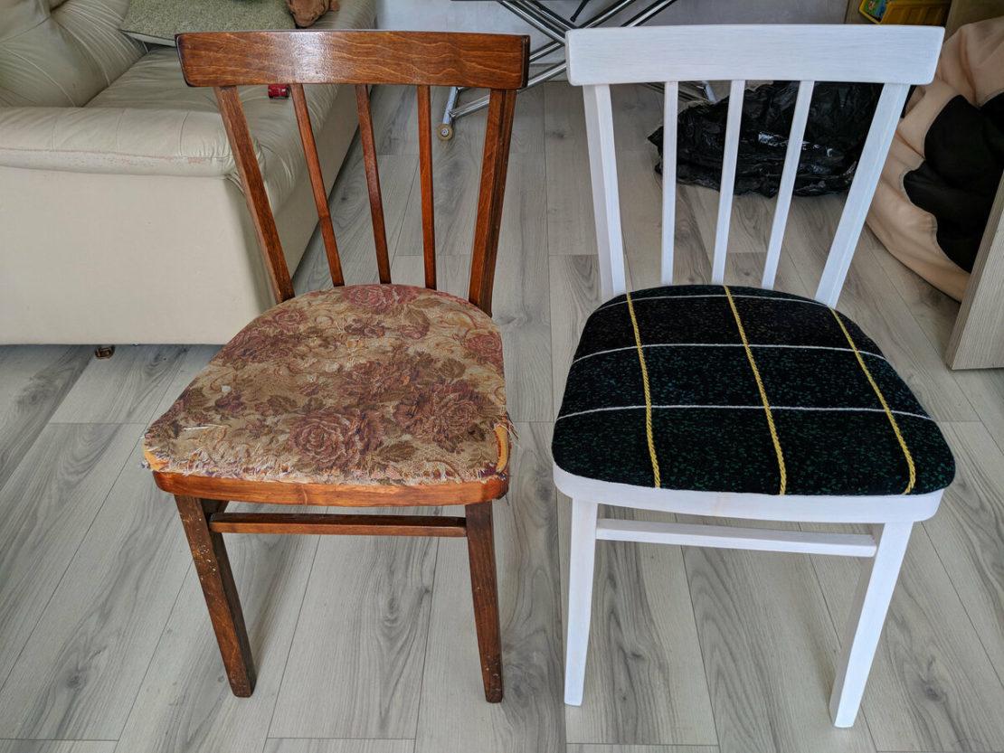 Покраска и новая обивка стульев