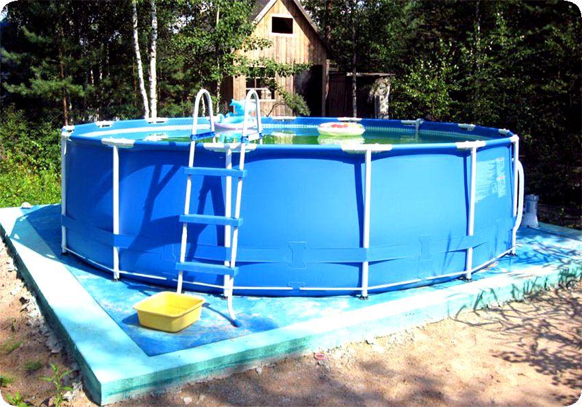 Установка каркасного дачного бассейна
