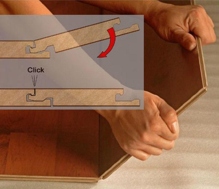 Укладка ламината с соединением Click