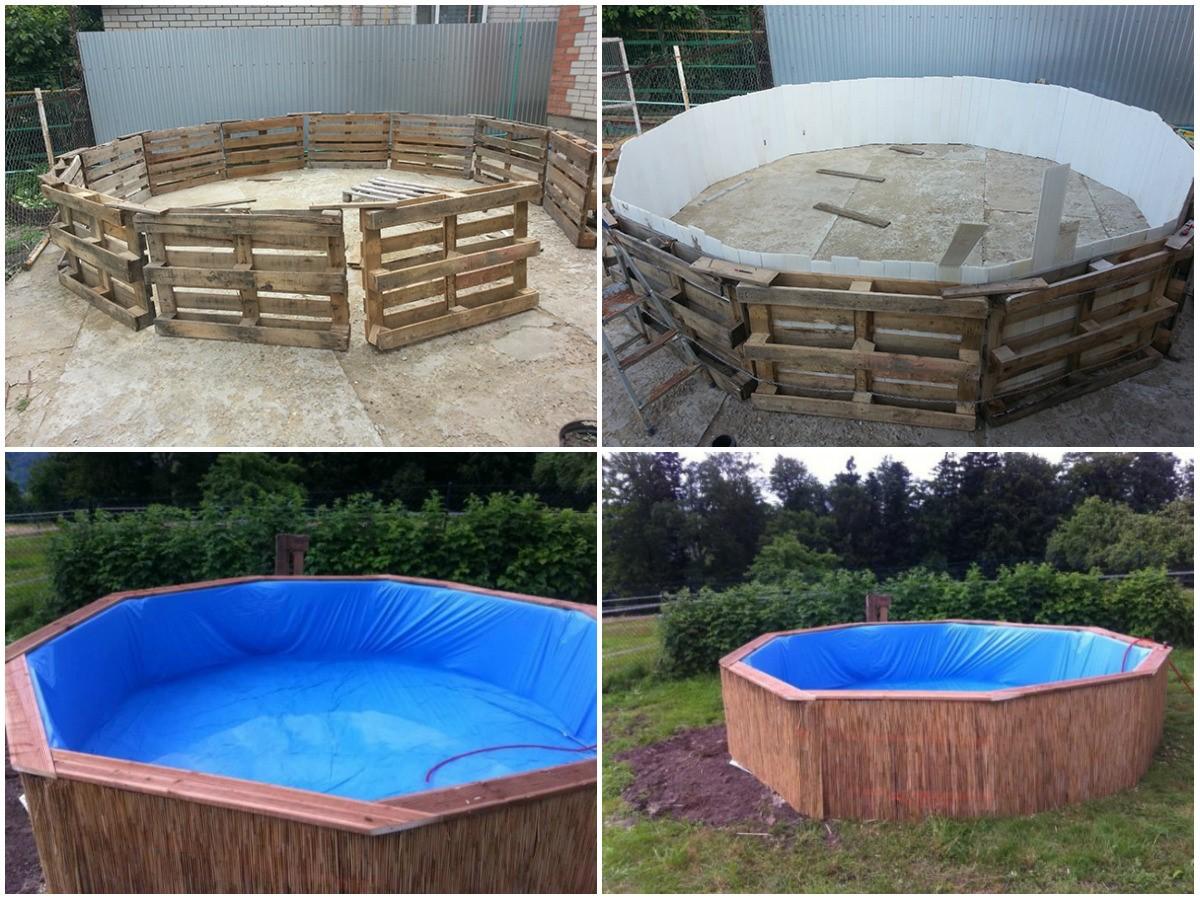Изготовление бассейна из поддонов