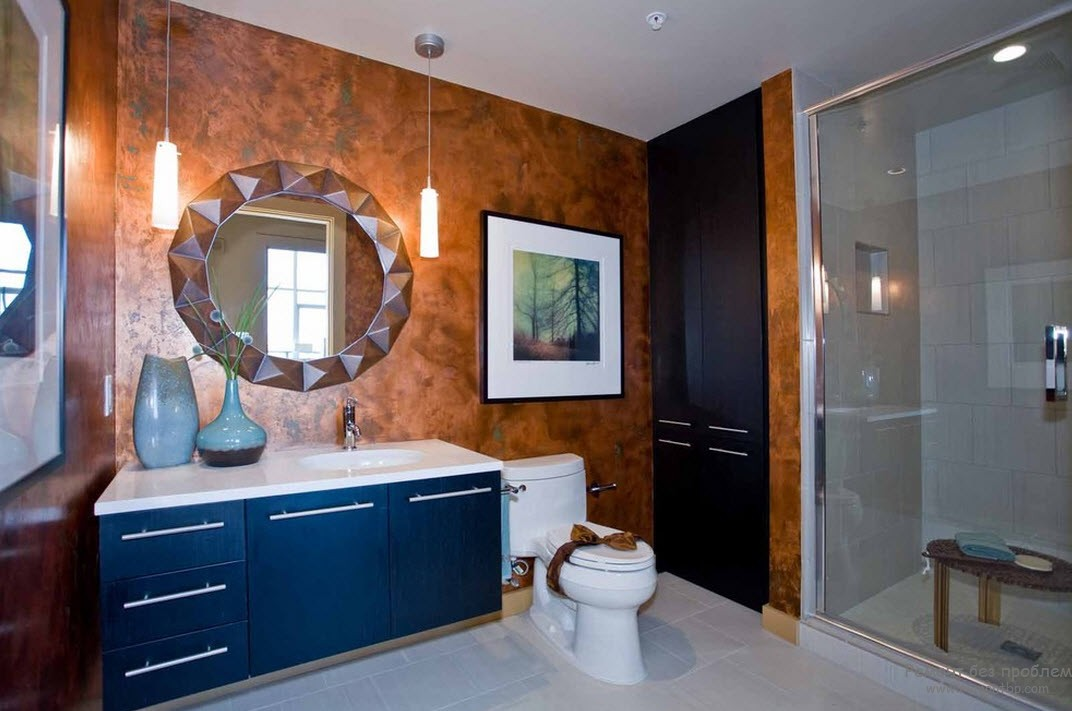 Линолеум на стенах в ванной вместо плитки