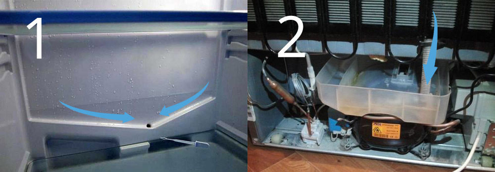 промывка сливного канала холодильника