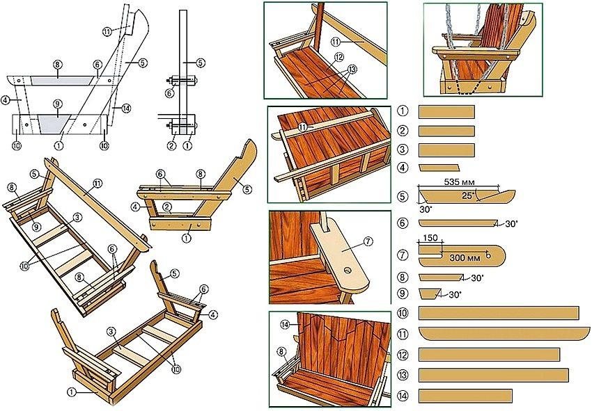 сидушка для деревянных качелей
