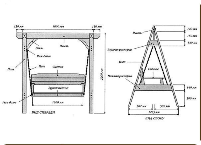 схема деревянной качели 2
