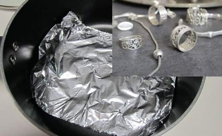 чистка серебра фольгой