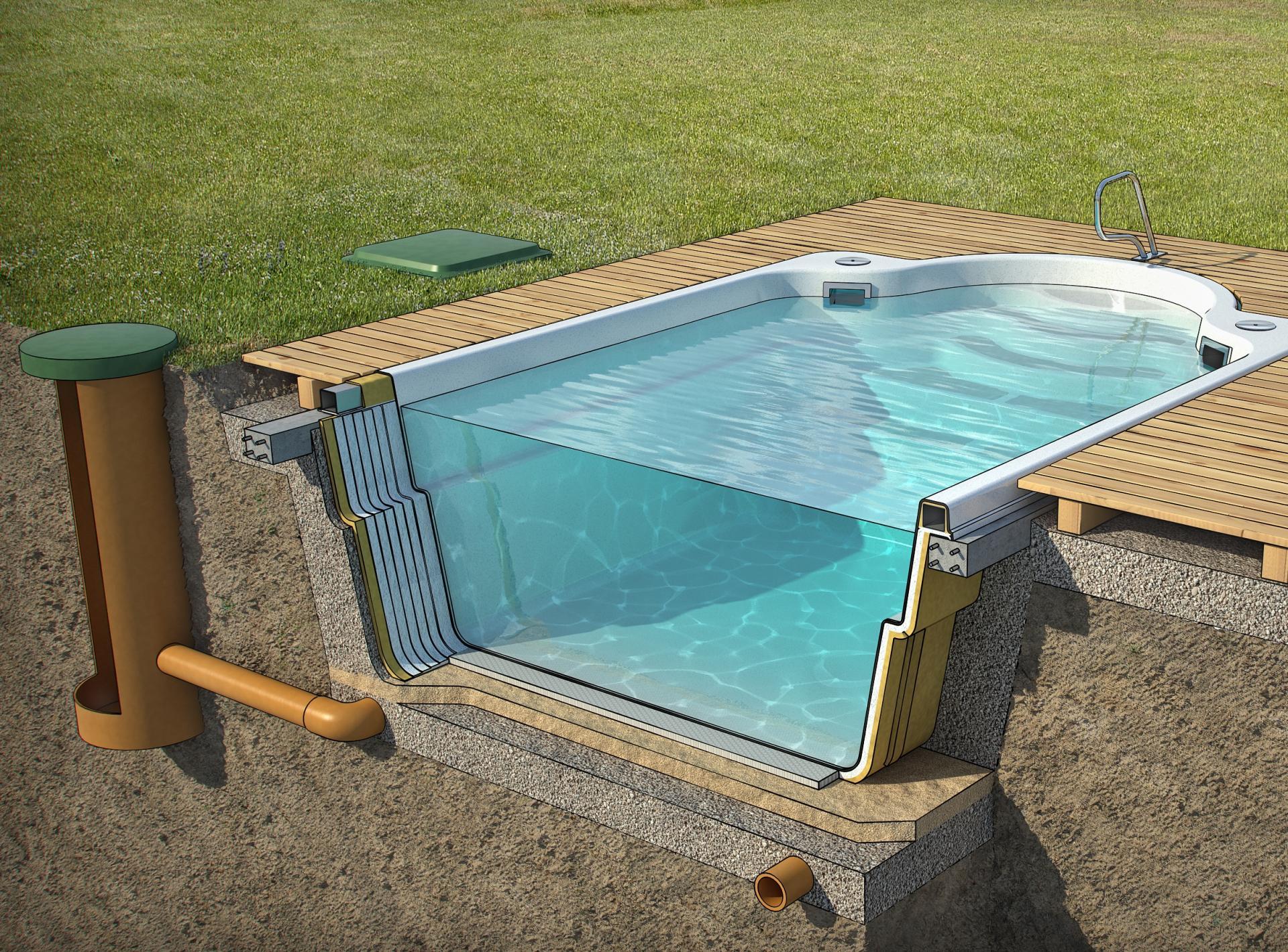 Установка бассейна из пластика