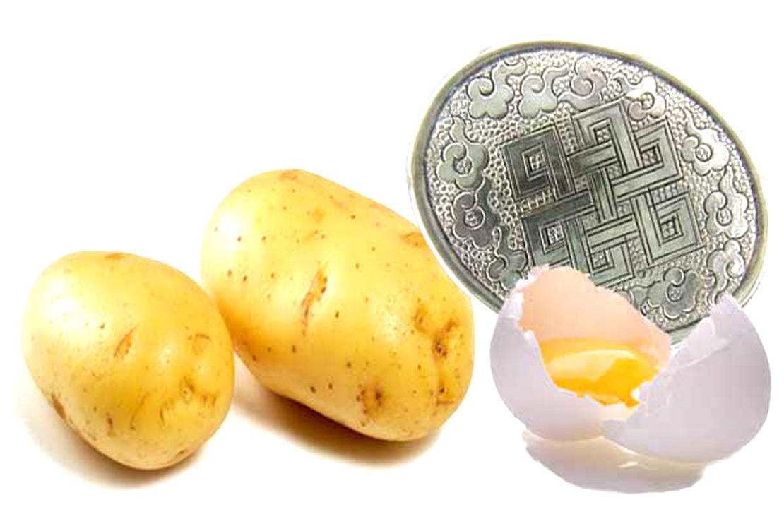 чистка серебра картофелем