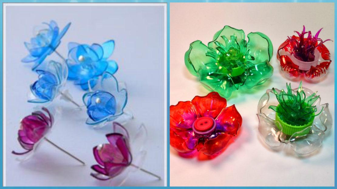 цветы и панно из пластиковых бутылок
