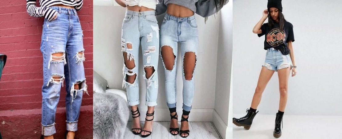 мода на рваные джинсы