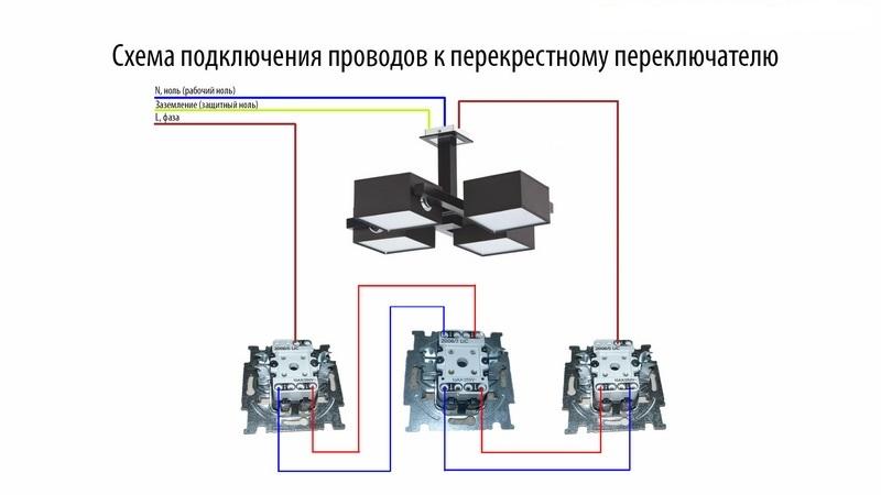 Подключение перекрестных выключателей