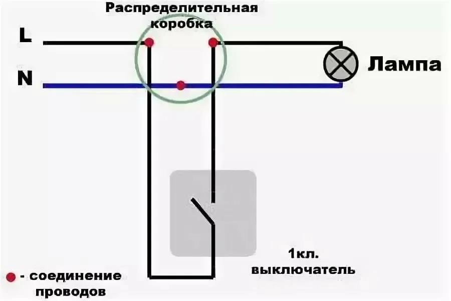 Подключение одноклавишных выключателей