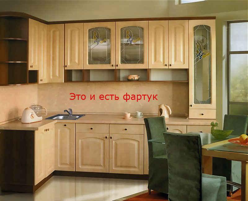 Место расположение фартука на кухне