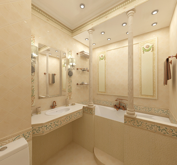 отделка ванной комнаты керамической плиткой