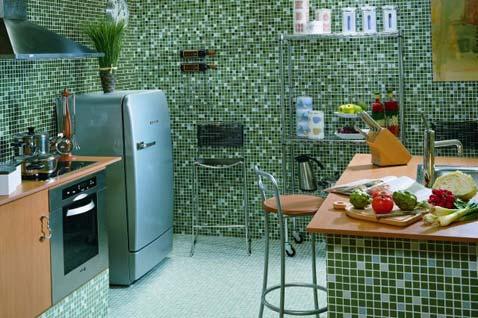 Кафельная плитка для кухни, фото решений с применением мозаики