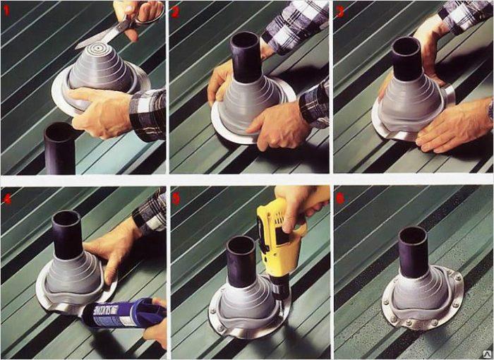 создание выхода трубы вентиляции