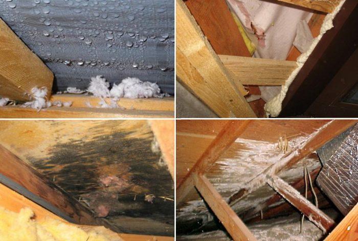 недостаточное утепление крыши