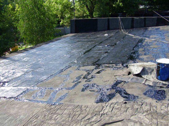 восстановление крыши гаража горячим битумом
