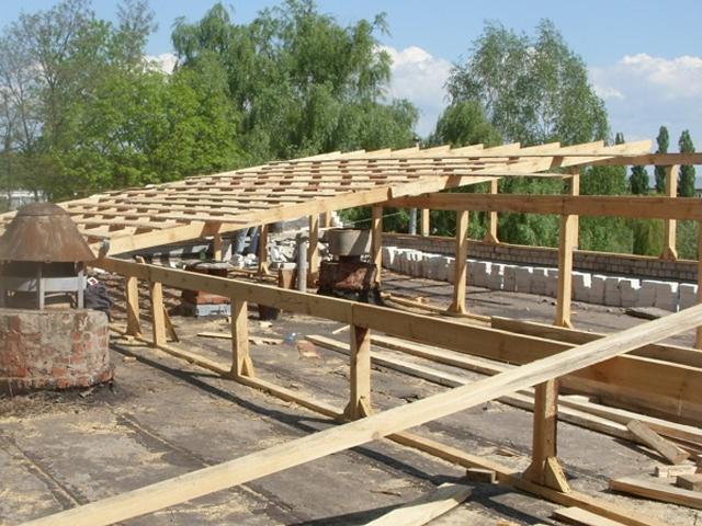 сборка односкатной крыши для гаража